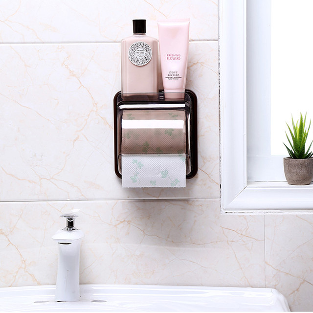 High Quality Pp Plastic Toilet Paper Holder Wall Mounted Waterproof Roll Storage Rack