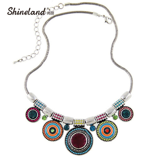 2017 New Choker Necklace Fashion Ethnic Collares Vintage Silver Color Colorful Bead Pendant Statement Necklace For Women Jewelry