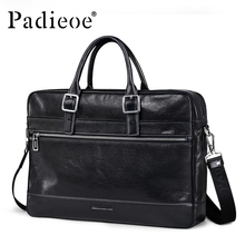 Padieoe Deluxe Vintage Design Genuine Leather Handbag Business man Briefcase Shoulder Bag High Quality Durable Messenger Bag