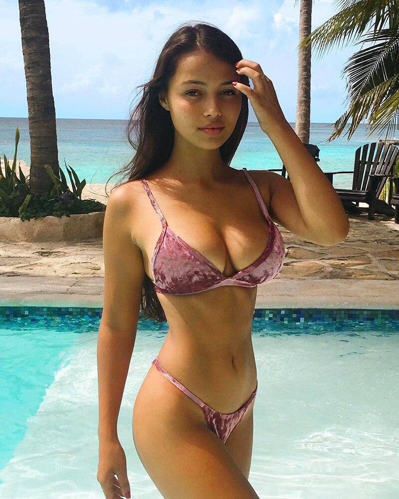 Fuerza motriz Estrictamente Delicioso  2018 Super Sexy Women Bikini Set Solid Push up Thong Bottom Bikinis HOT  Summer Swimsuit Swimming Velvet Swimwear Bathing Suit| | - AliExpress