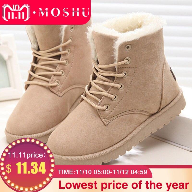 Botas de invierno clásicas para Mujer Botas de nieve de gamuza tobillo de piel cálida Plantilla de felpa Botas de alta calidad Mujer con cordones