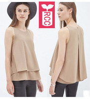 Newest 2015 Brand Double Chiffon Casual Nude Apricot Sleeveless Blouse Womens Loose Tops Tees Office Shirts