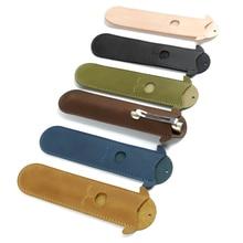 лучшая цена Handmade Genuine Leather Pencil bag for One Pen Retro Pen Bag Pencil Pouch Holder Travel Gift Joy Corner