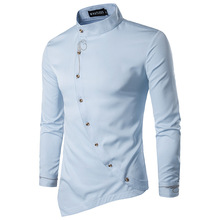Embroidery Shirts Men Spring New Oblique Button Irregular Shirt Men Chemise Homme Casual Slim Fit Long Sleeve Camisa Masculina
