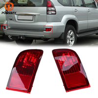 POSSBAY Red Lens Rear Bumper Reflector Tail Fog Light Housing Fit Toyota Land Cruiser Prado J120