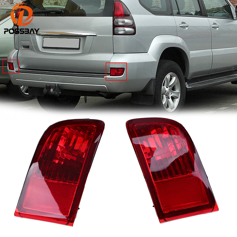 POSSBAY Red Lens Rear Bumper Reflector Tail Fog Light Housing for Toyota Land Cruiser Prado(J120) GRJ120 TRJ120 FJ120 2002-2009 2 pcs pair rear bumper lights without bulbs tail fog lamps for toyota land cruiser prado fj120 2002 2009