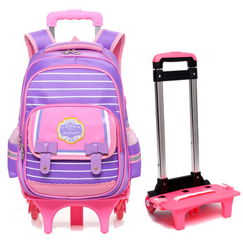 New Detachable high quality kids backpack with TWO wheels children mochilas trolley school bags for student teenager girls boys