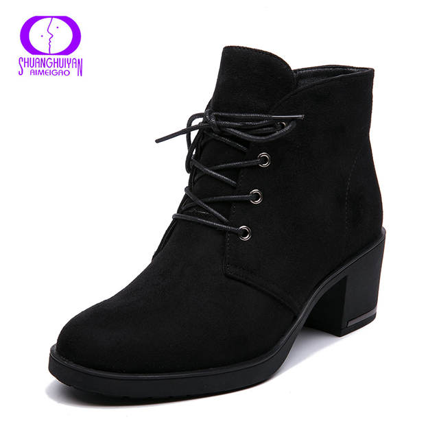 Ankle Boots Suede Leather Short Booties Lace Up Boots Women With Fur Shoes 1