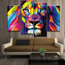 One Set Framework Or Frameless Painting Modern On The Wall Decor 4 Piece Modular Art Colorful Animal Lion Picture Canvas Print