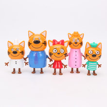 5pcs/lot Kittens Russian Happy Kitten Action Figure Toy Animals Cartoon Cat Model Doll Toy Kid Christmas Gift 9-11cm(China)