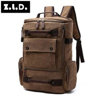 Z L D Originals 2017 High Quality Canvas Neutral Backpack Solid Color Large Capacity Leisure Multipurpose