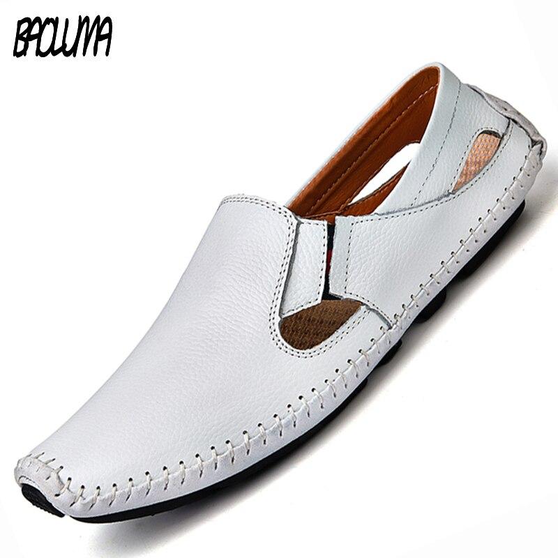 Männer Leder Sandalen Designer Fahr Schuhe Größe Herren Slipper Slip-on Sommer Männliche Leder Sandalen Größe 38-47