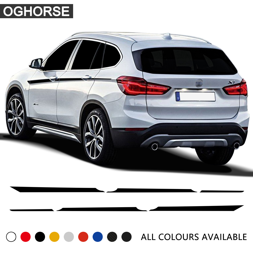 2pcs M Performance Door Side Accent Stripes Stickers Waist Line Vinyl Decal Body Graphics Decoration For BMW X1 F48 Accessories