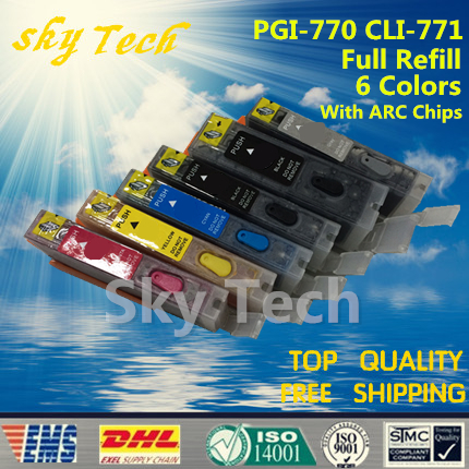 6PK Full ink Refillable Cartridges suit for PGI770 CLI771, Suit for canon PIXMA MG5770 MG6870 MG7770  ,with ARC chips pgi 425 cli 425 refillable ink cartridges for canon pgi425 pixma ip4840 mg5140 ip4940 ix6540 mg5240 mg5340 mx714 mx884 mx894
