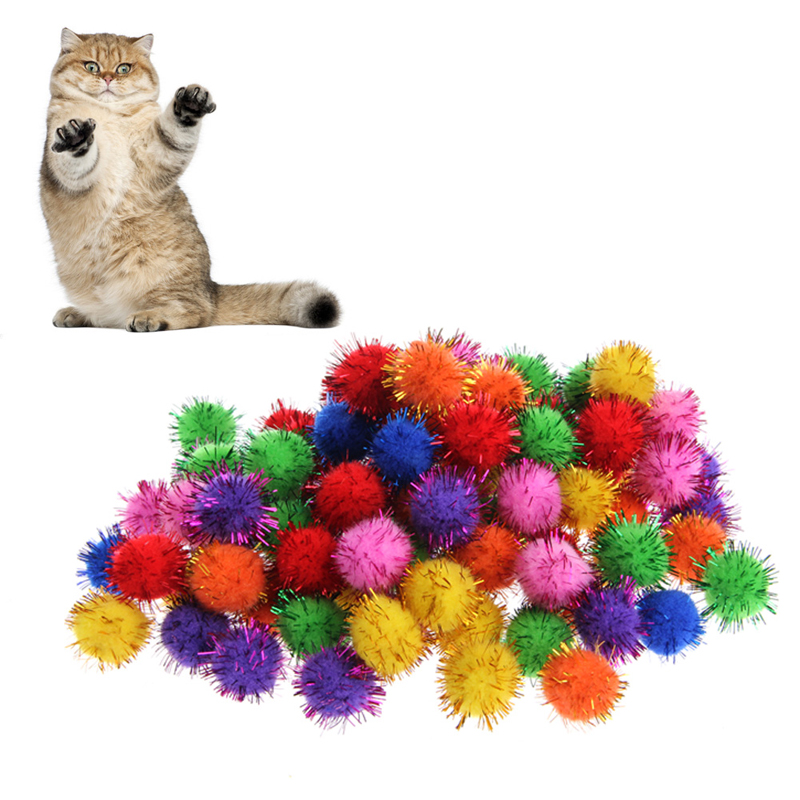 2018 NEW 100Pcs Colorful Mini Sparkly Glitter Tinsel Balls Small Pom Ball For Cat Toys
