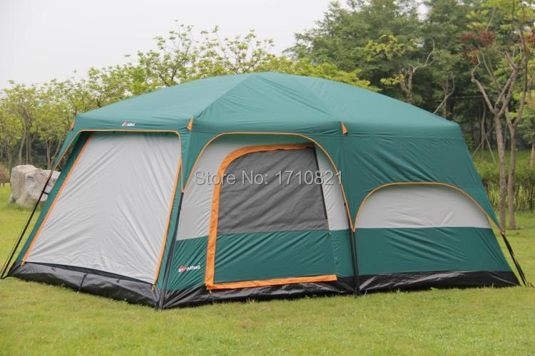 Ultralarge 6 10 12 Double Layer Outdoor 2living Rooms And 1hall Family Camping Tent In Tents From Sports Entertainment On Aliexpress