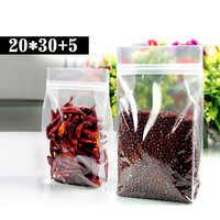 50pcs/lot 20cm*30cm+5cm*200mic High Quality Coffee Beans Bags Clear Plastic Food Bags Ziplock Bag Plastic Package