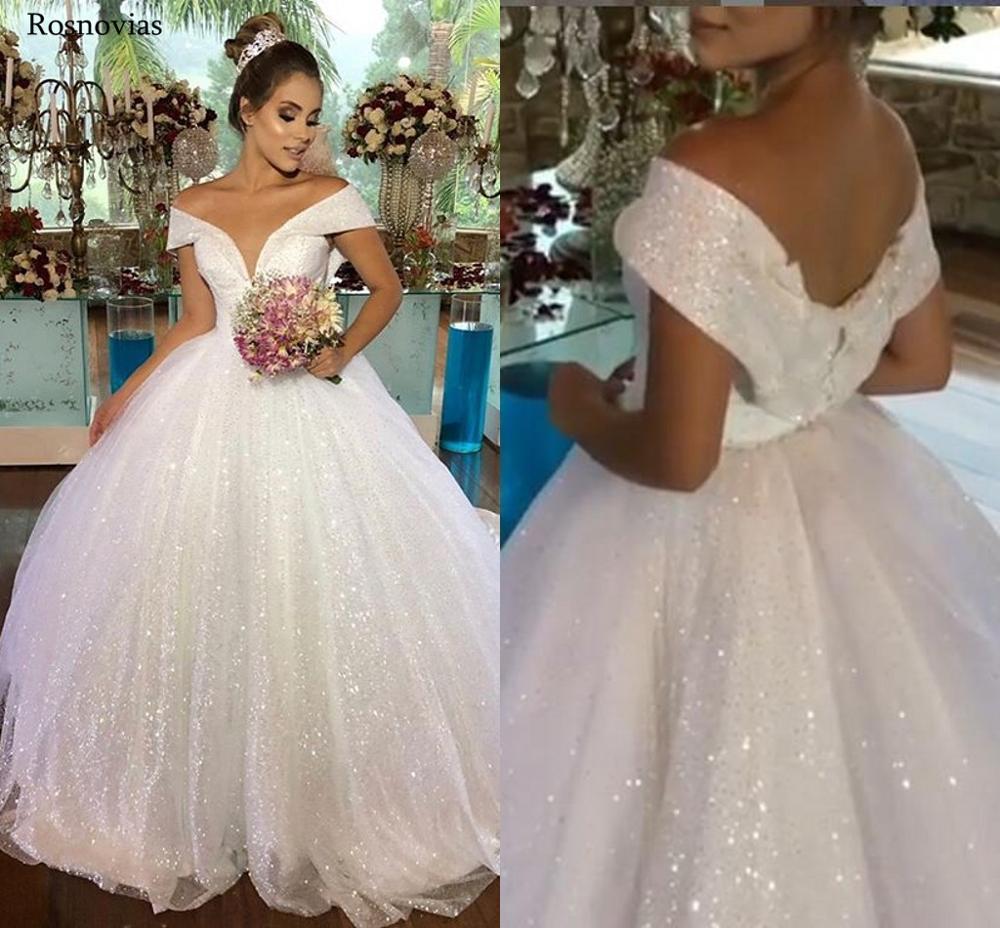 Shiny Ball Gown Wedding Dresses 2020 Off Shoulder V Neck Lace-up Back Modest Princess Bridal Gowns Vestido De Novia Custom