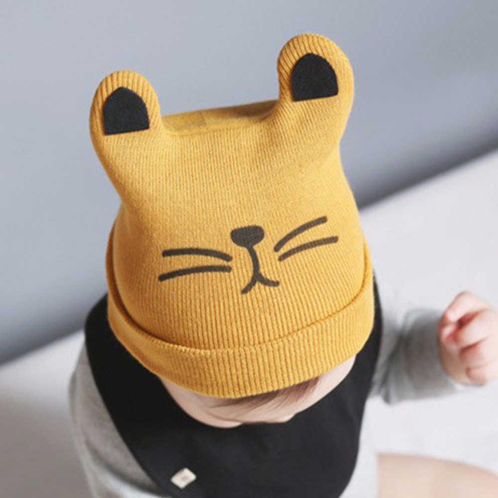 หมวกเด็กทารกแรกเกิดพิมพ์การ์ตูนถักหมวกหมวกขนสัตว์เด็กแมวหูหมวก Beanie หมวกเด็กฤดูใบไม้ร่วงฤดูหนาว Warm หมวก