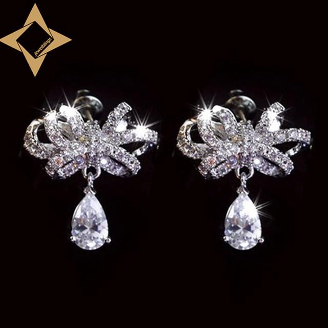 Olhar micro pave cz brincos de arco do vintage tom de prata 3 Prong Definir Pêra Pedra Declaração Cluster Brincos Bowknot Bling jóias