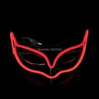 Новинка 2017 года Тип Мода 100 штук светящийся партия маска EL проволоки маска для свадьбы, фестиваль, Хэллоуин, Рождество, день рождения украшен