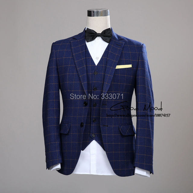 Groom Tuxedos Wool Blue Ckeck Tweed Custom Made Men suit Blazers Retro tailor made slim fit wedding suits for men 3 Piece
