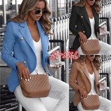 Высококачественный пиджак женский верхняя одежда с длинными рукавами двубортный офис женский пиджак
