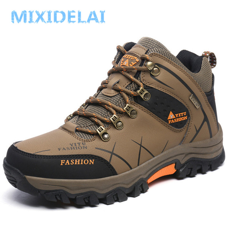 MIXIDELAI Men Boots Winter With Plush Warm Snow Boots Casual Men Winter Boots Work Shoes Men Footwear Fashion Ankle Boots 39-47