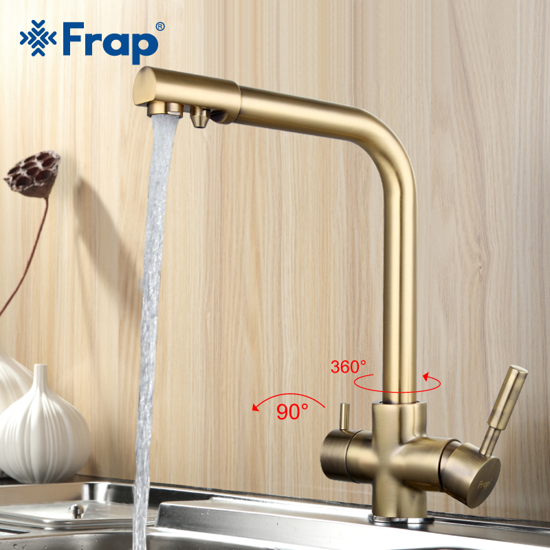 Frap Bronze Antique Tall Kitchen Sink Faucet Drinking Water Tap Mixer With Water Purification Features Double Handle F4352-4
