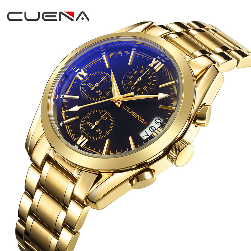 CUENA Fashion Men Quartz Watch Mens Watches Top Brand Luxury Stainless Steel Waterproof Man Sport Wristwatches Relogio Masculino men fashion quartz watch mans full steel sports watches top brand luxury cuena relogio masculino wristwatches 6801g clock