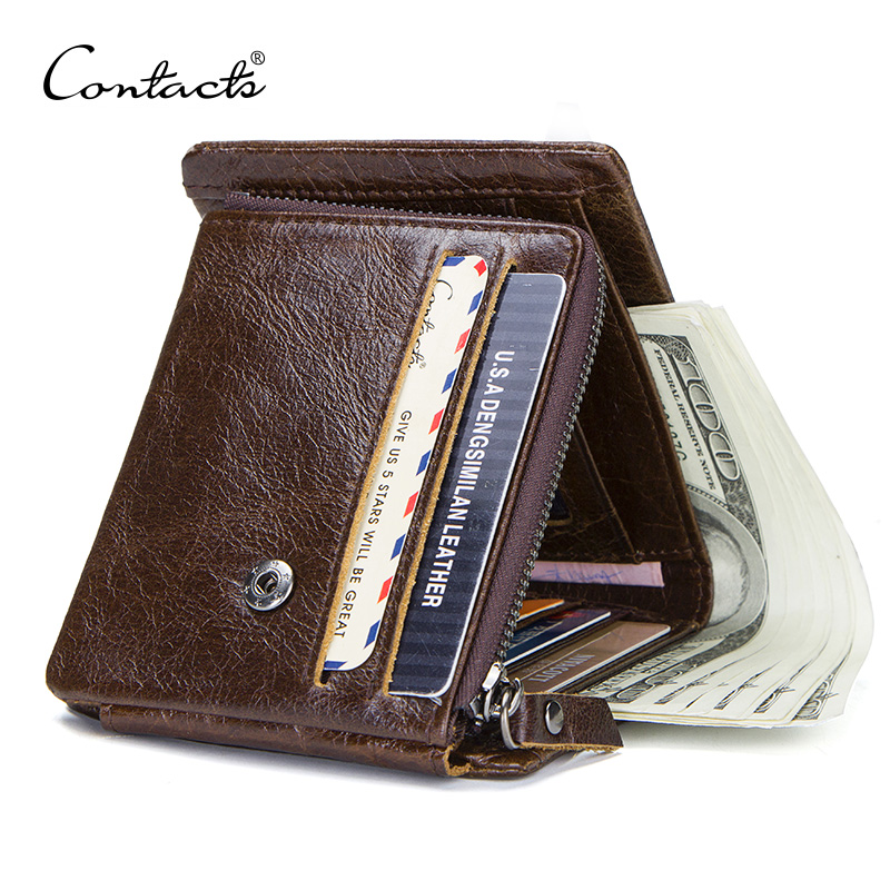 CONTACT'S Casual Style Genuine Leather Trifold Wallet For Zipper Hasp Men Clutch Wallets With Coin Pocket For Male Short Purse williampolo men wallets male purse genuine leather wallet with coin pocket zipper short credit card holder wallets leather