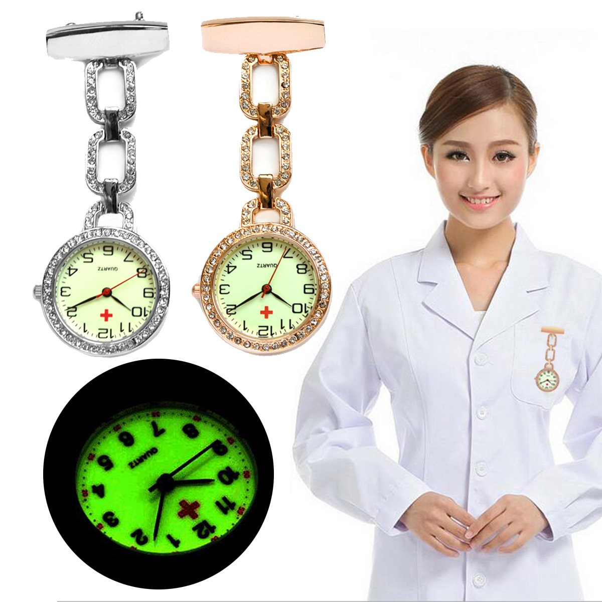 New Luminous Nurses Watches Doctor Clip-on Fob Quartz Watch Steel Noctilucent Brooch Hanging Medical Crystal Pocketed Pin Watch new fashion clip nurse doctor luminous pendant pocket watches quartz red cross brooch nurses watch fob hanging medical watch