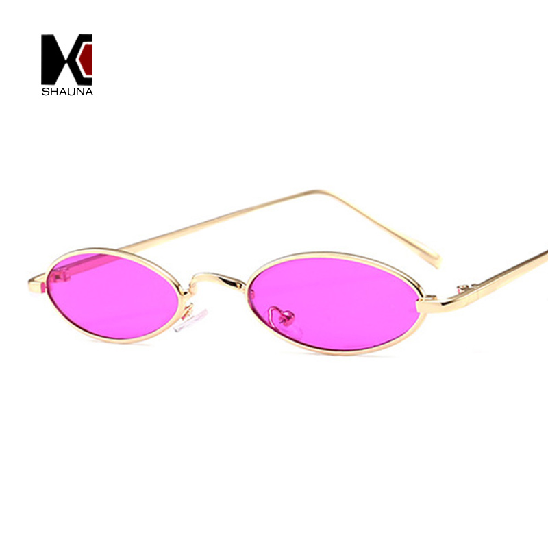 SHAUNA Popular Cores Doces Mulheres Pequeno Oval óculos de Sol Da Moda Armação de Metal Homens Roxo Claro Lens Shades UV400