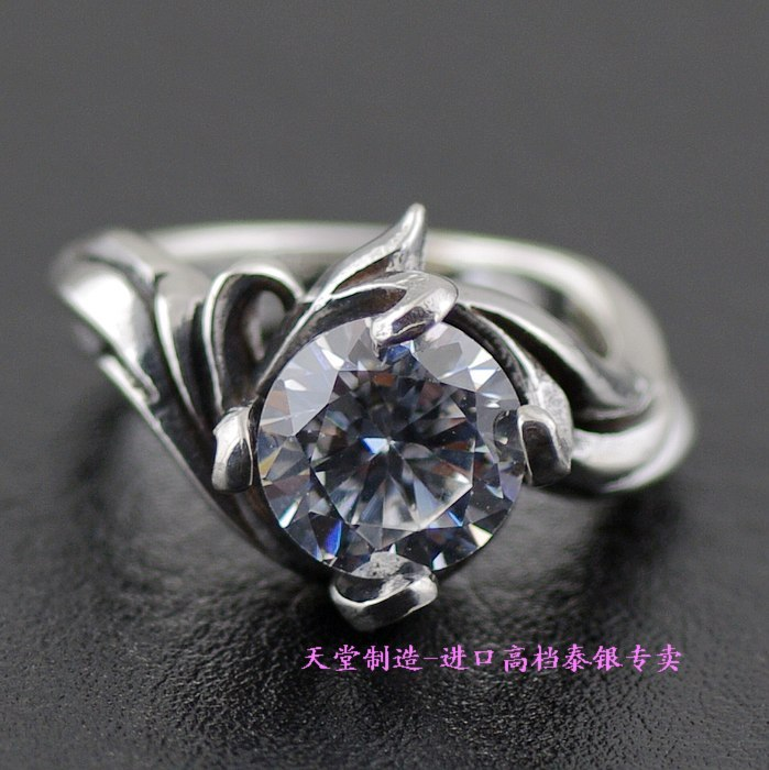 Thailand imported 925 silver, four silver Zircon ring rotating claw, tail ring 925 sterling silver zircon double eagle head imported silver ring