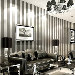 Image 2 - Vertical Striped Wallpaper Home Decor For Living Room Bedroom Wall Coverings Metallic Black Silver Modern Luxury Wall Paper