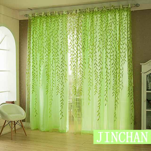 Modern Green Willow Blackout Window Curtains Drapes Shades For Living Room Bedroom Kitchen