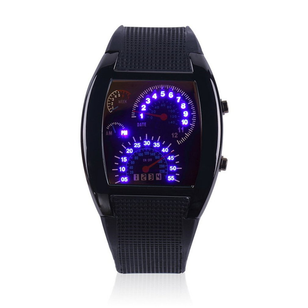 Fashion Aviation Turbo Dial Flash LED Watch Gift Mens Lady Sports Car Meter Rubber Band Watches Saat
