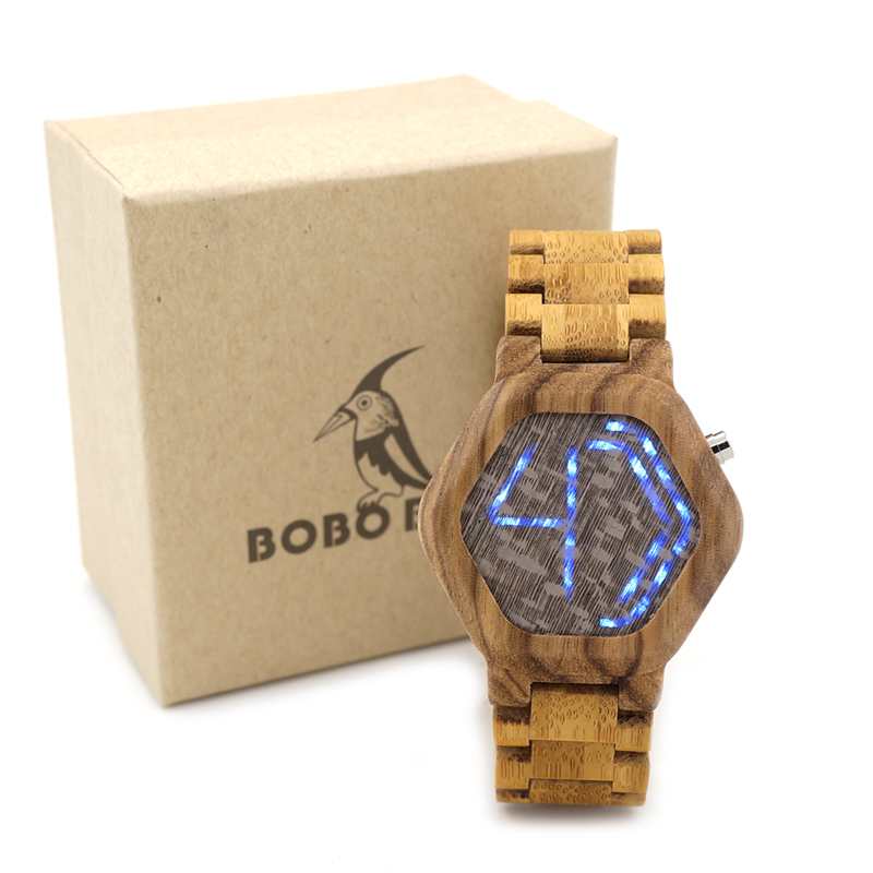 Original BOBO BIRD Wood Digital LED Men Watches Kisai Night Vision Wood Calendar Wristwatch LED Watch