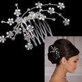 Wedding headdress flower crystal rhinestone Bridal comb hair clip on his head