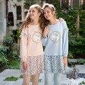 Осень Женщины Пижамы Хлопка Молодых Laides Pijima Пижамы Длинные Топы и Твердые Эластичные Брюки Набор Гостиная Сна Моды Пижамы Женщина