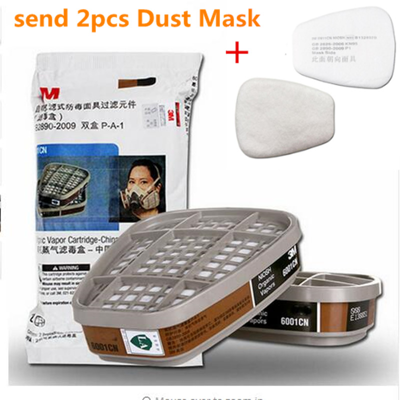 Activated Carbon Filter Box 10pcs 6001cn Organic Vapor Respirator Filter Cartridge For 3M 7502 6200 Gas Mask High Quality 11.14