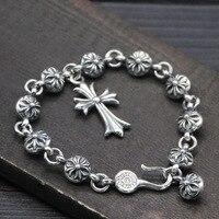 Starfield S925 Sterling Silver Retro Thai Silver Popular Small Ball Cross Male Female Bracelet