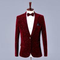 Wine red velvet blazer men formal dress latest coat pant designs suit men costume homme trouser marriage wedding suits for men's