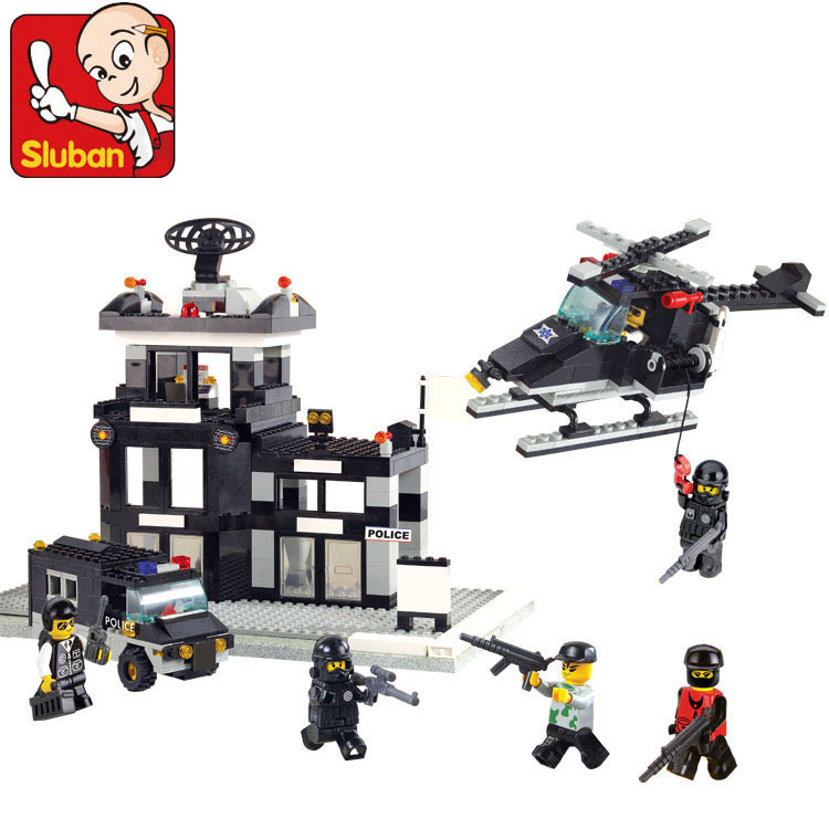 Sluban model building kits compatible with lego city police 585 3D blocks Educational model & building toys hobbies for children