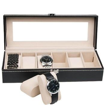 Hot Sale Black 6 Grids PU Leather Fashion Watch Box Display Watches Storage Organizer Box Holder Jewelry Box Bracelet Case u7 watch holder and jewelry organizer box chic storage drawer case black high quality pu leather gift for men women ob08