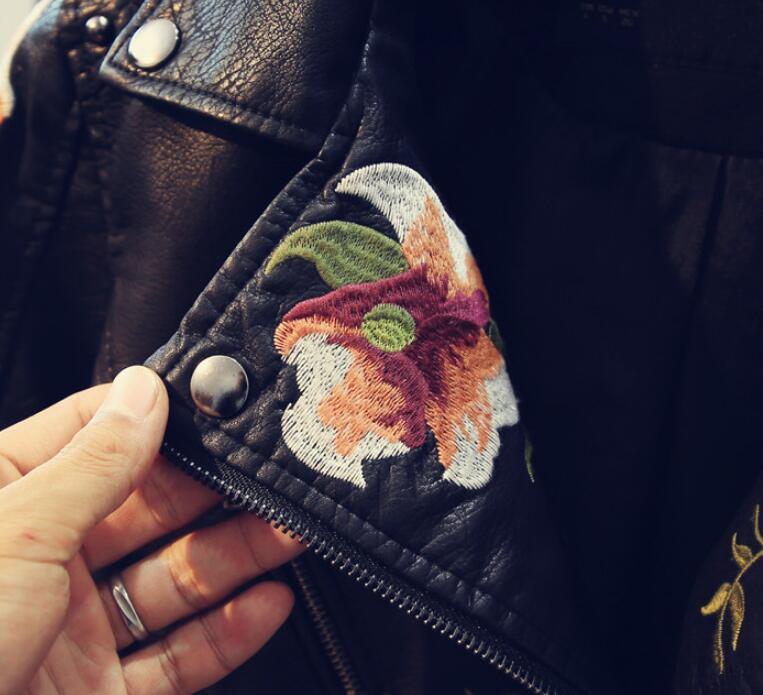 Femminile Oeaid Signore Rivetto Nero In Giubbotti 2019 Di Abbigliamento Cappotto Ricamo Giacca Breve Il Pelle Donne Sottile Nuovo Molla Delle Cuoio CwrCqH