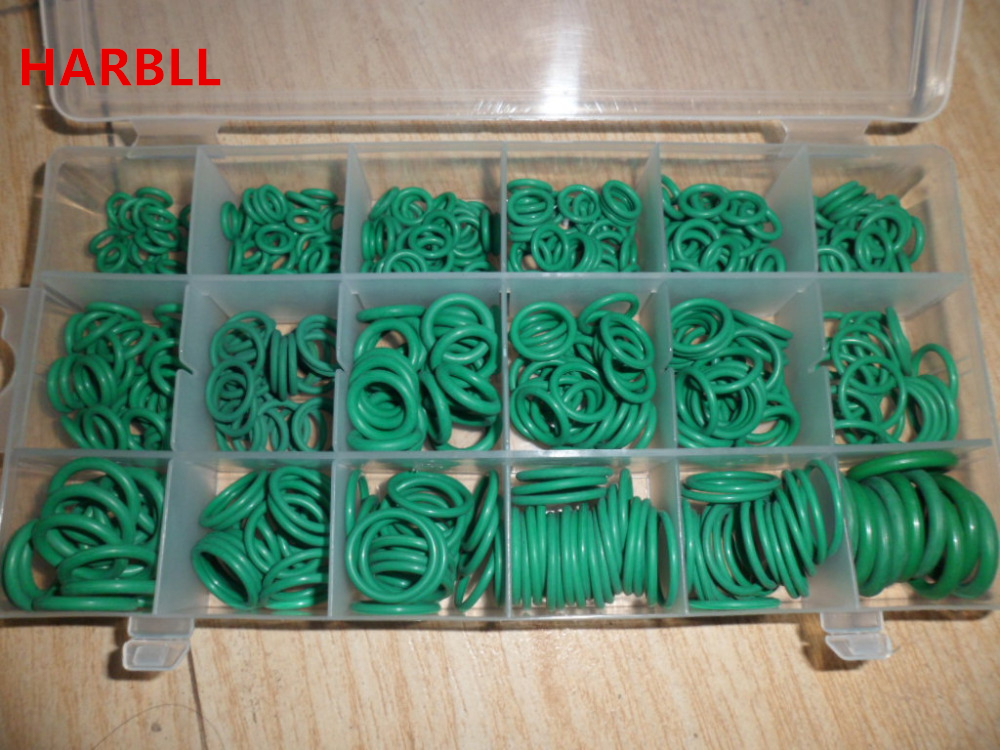 530PCS High Quality 18 Sizes O-ring Kit Green R134A Rubber O Ring O-Ring Washer Seals Assortment  for Car