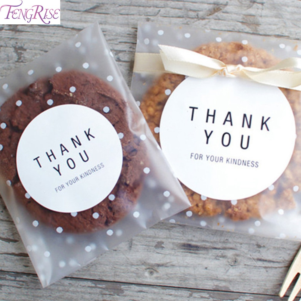 100 Pcs Plastic Transparent DIY Cellophane Polka Dot Candy Cookie Gift Bag With Self Adhesive For Wedding Birthday Party