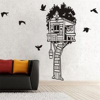 140cm Tall FOREST TREE HOUSE BIRDS Wall home Stickers Vinyl Decal Removable Mural DIY Art Wall Stickers For Kids Room