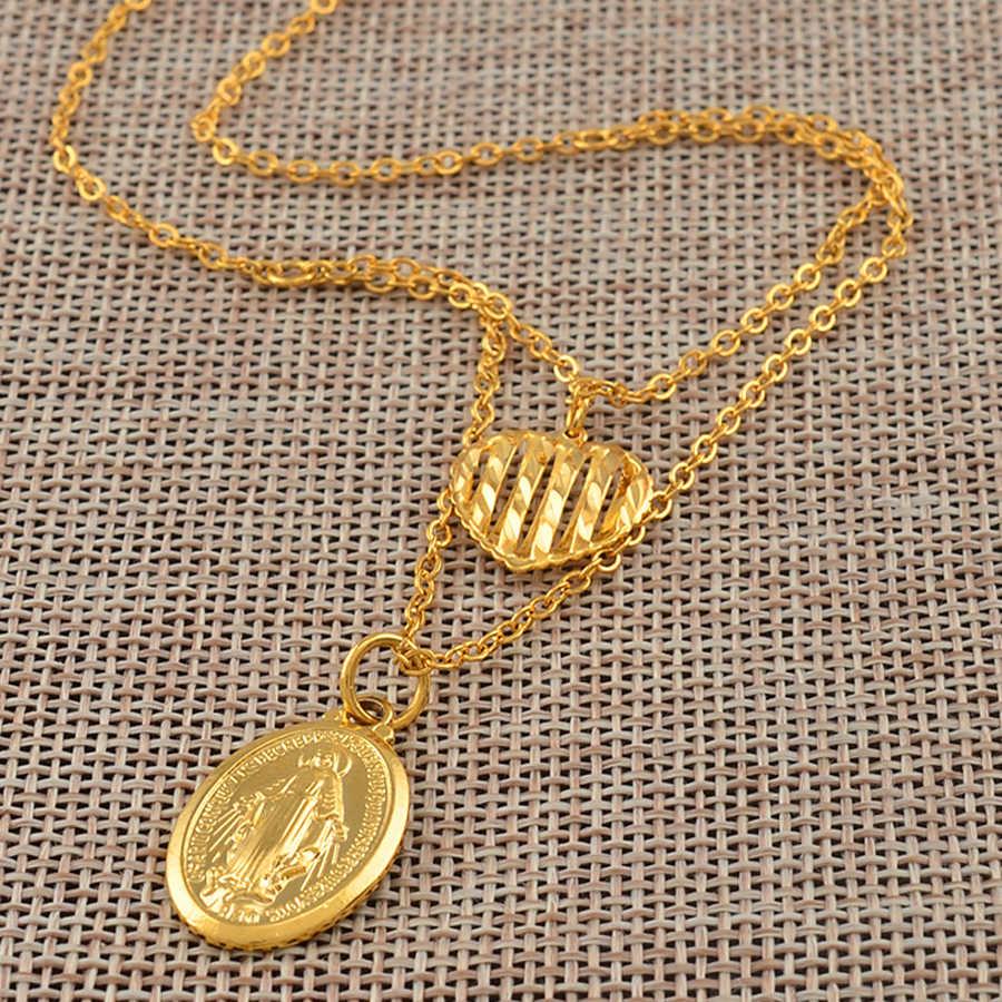 Anniyo/сердце и девственница Mary ожерелья с подвесками для женщин и девушек золотой цвет наша Леди ювелирные изделия оптовая продажа Colar Cross трендовая цепочка #140806
